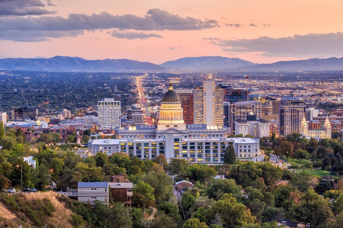 Beautiful skyline view of Salt Lake City, Utah