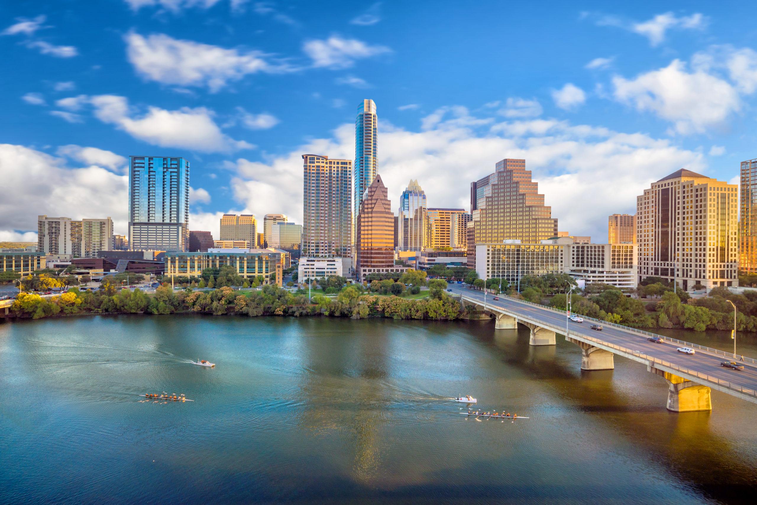 View of Austin, Texas, and Colorado River