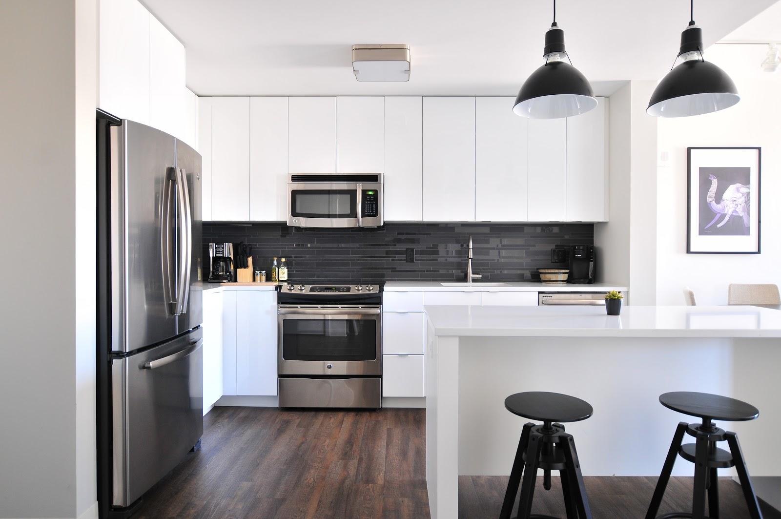 Kitchen in long-term housing in Dallas, Texas