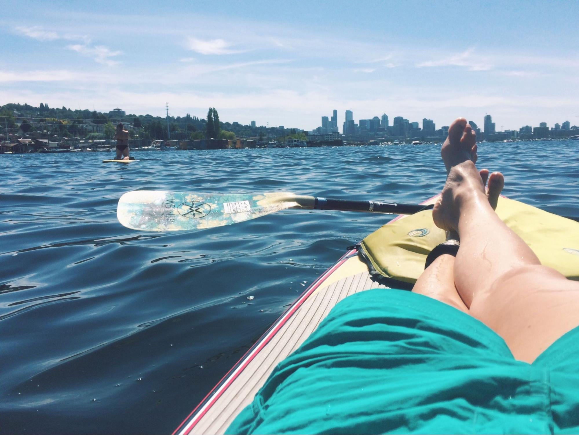 Lounging on a paddleboard during the summer in Seattle.