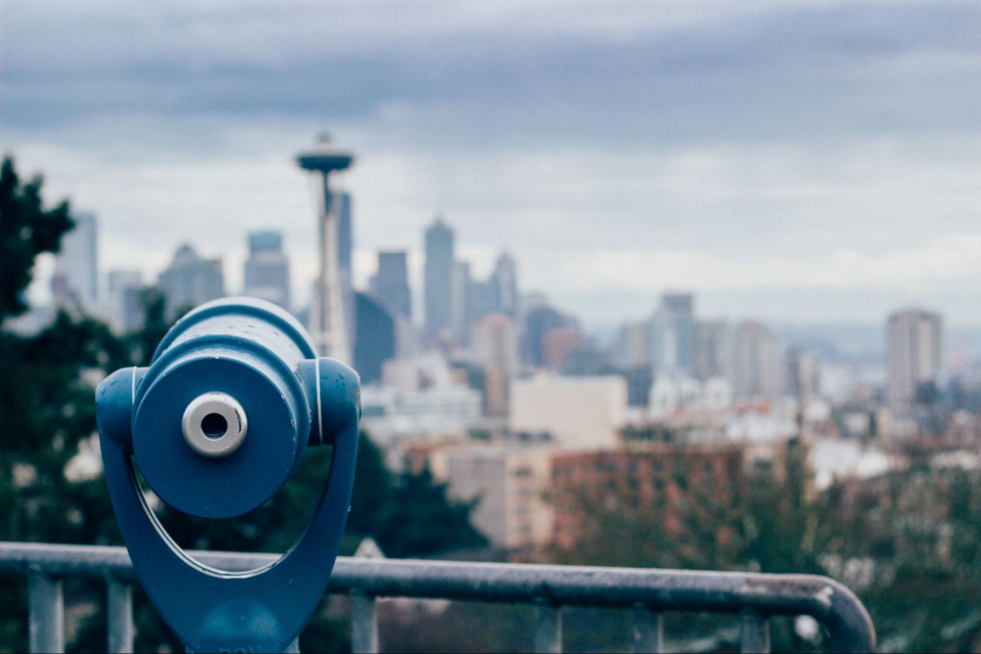 View of Seattle skyline and Space Needle.
