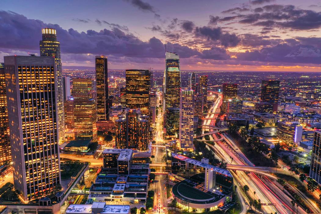 Skyline of Los Angeles at night.