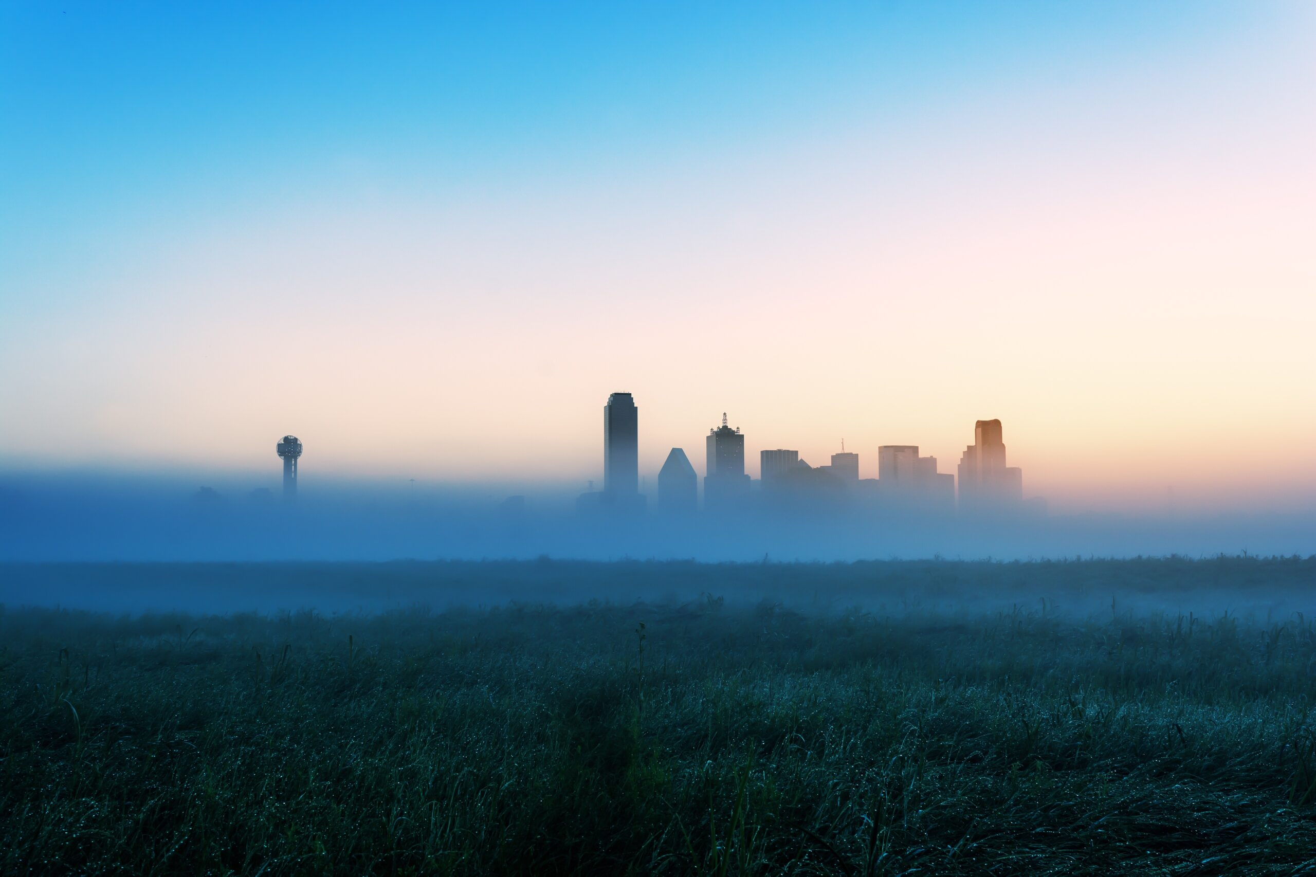 Foggy Sunrise in downtown Dallas from the trinity river