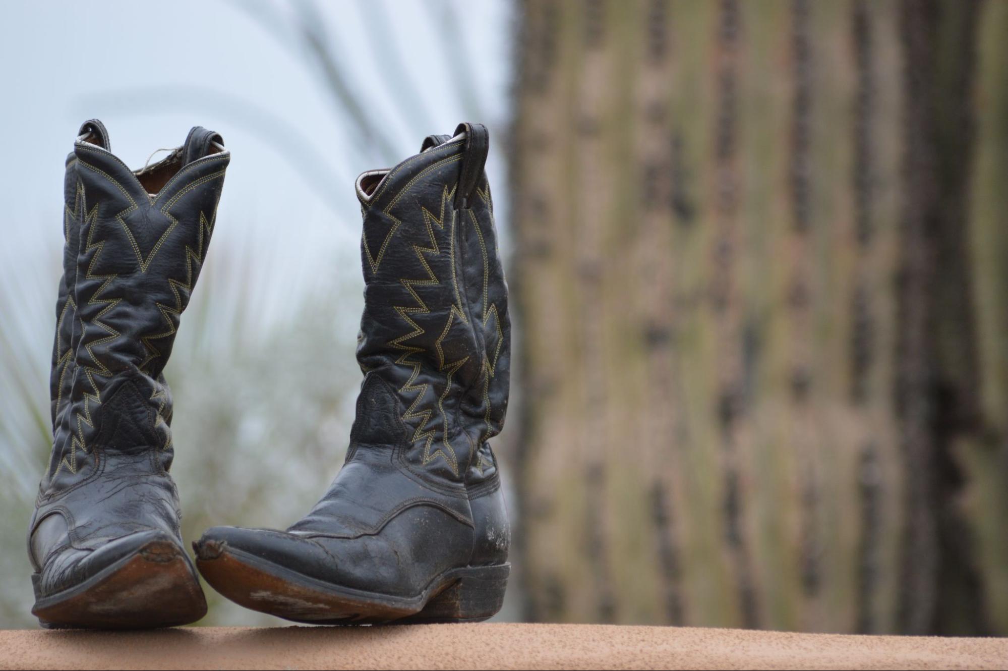 Cowboy boot in Milwood neighborhood in Austin, Texas