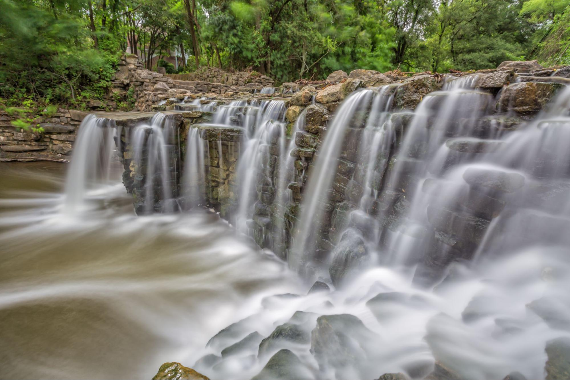 The Prairie Creek Waterfall in Richardson, Texas
