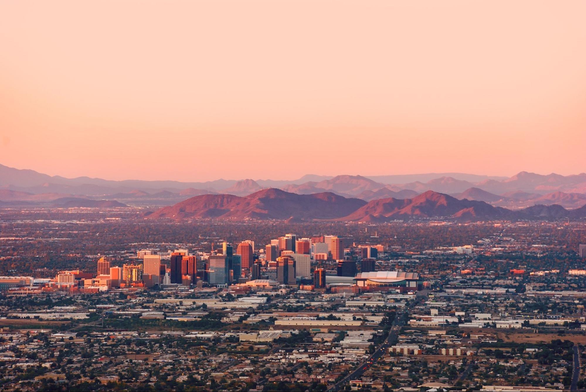 View of skyline in Phoenix, Arizona
