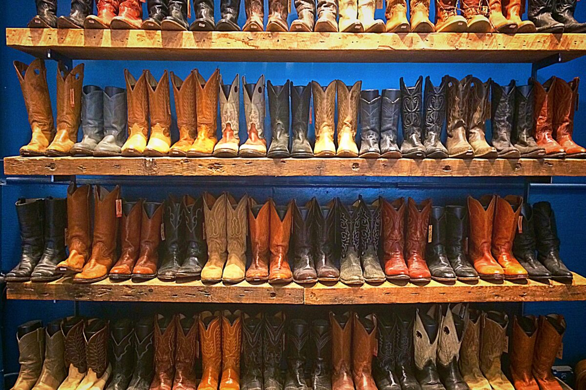Display of cowboy boots in Plano, Texas