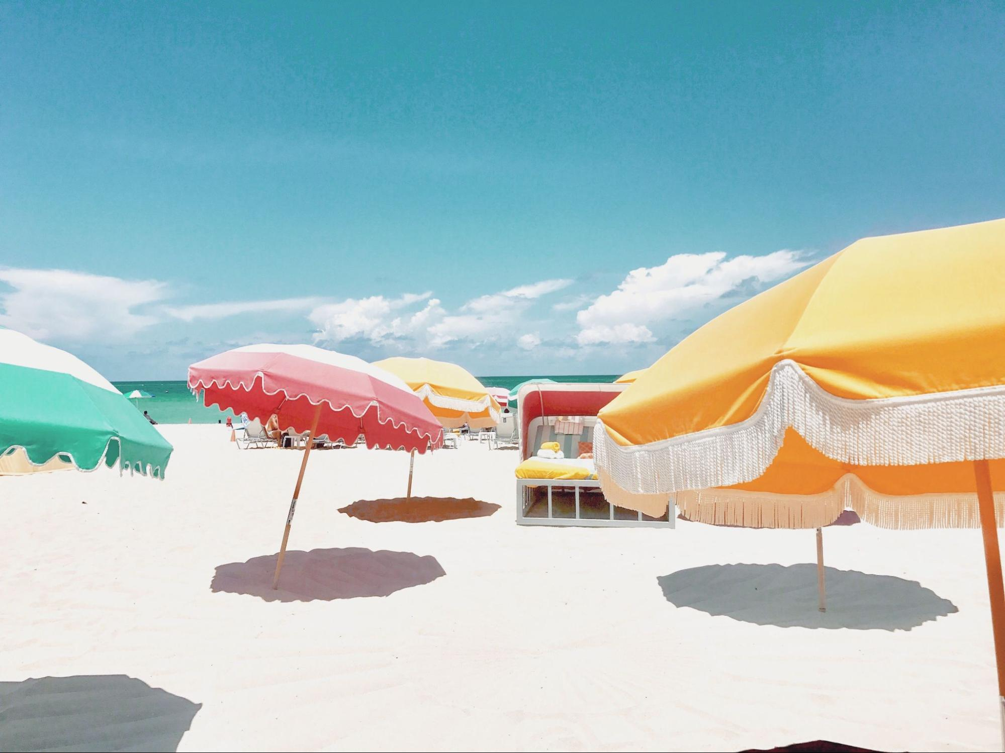 Umbrellas on the beach in Miami, Florida