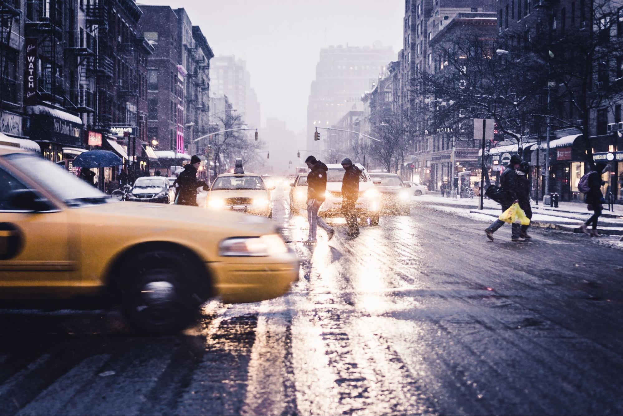 A taxi in the streets of New York City