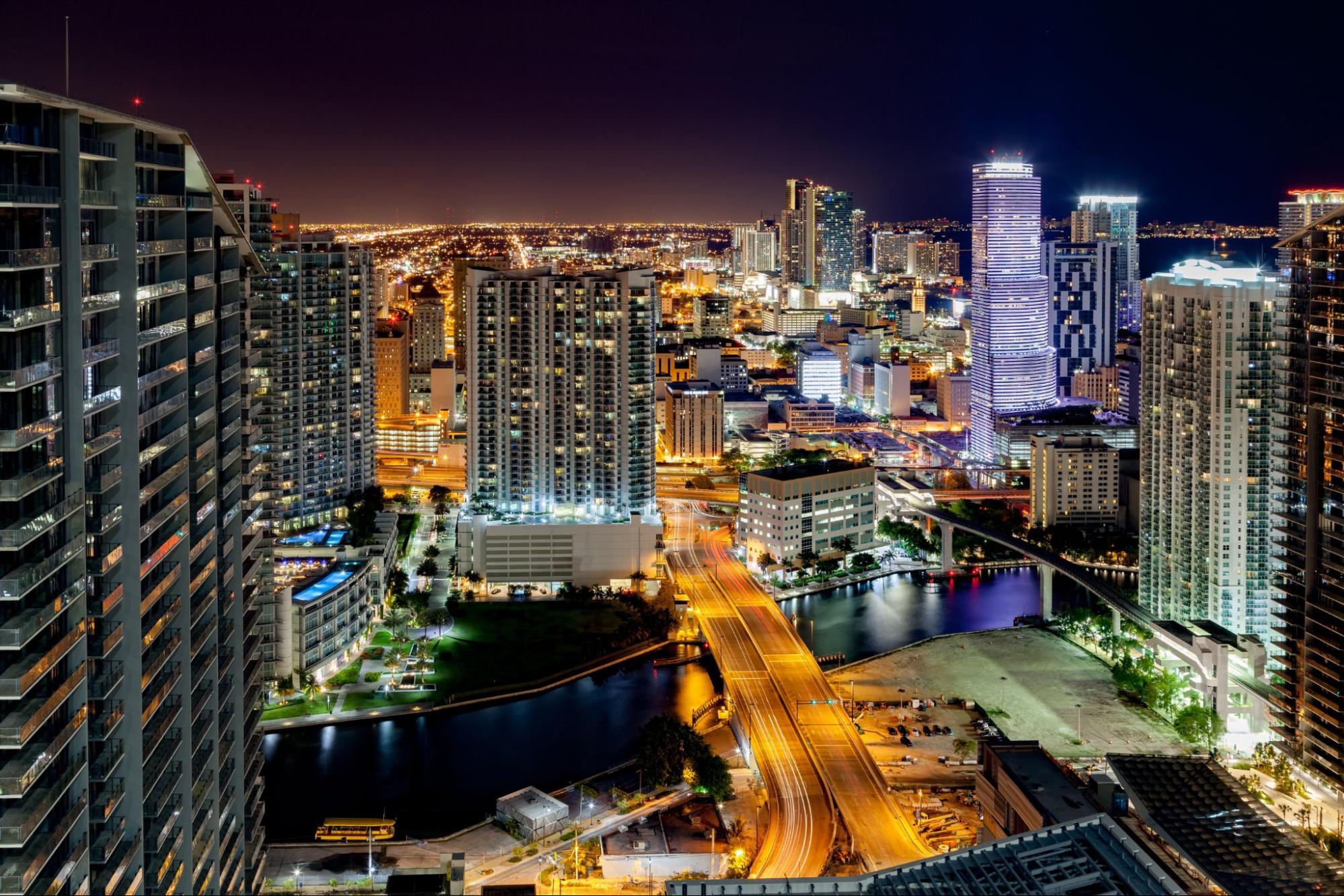 Nighttime skyline of Miami