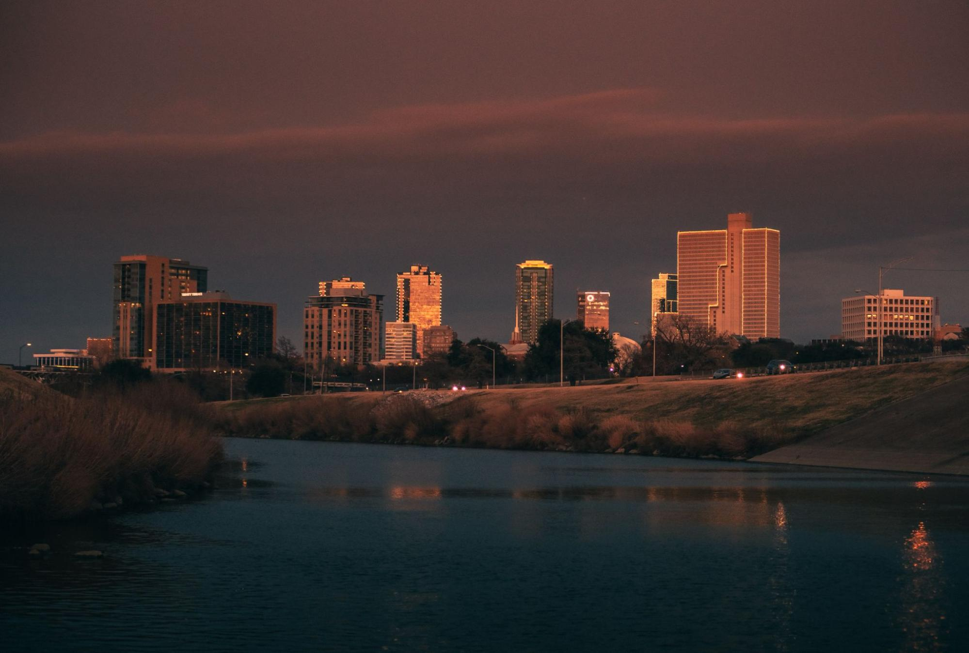 The sun setting over the skyline in Fort Worth, Texas.