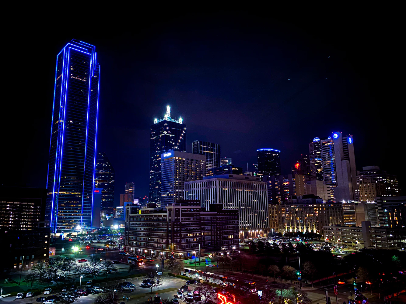 An aerial view of the skyline in Dallas, Texas at night.