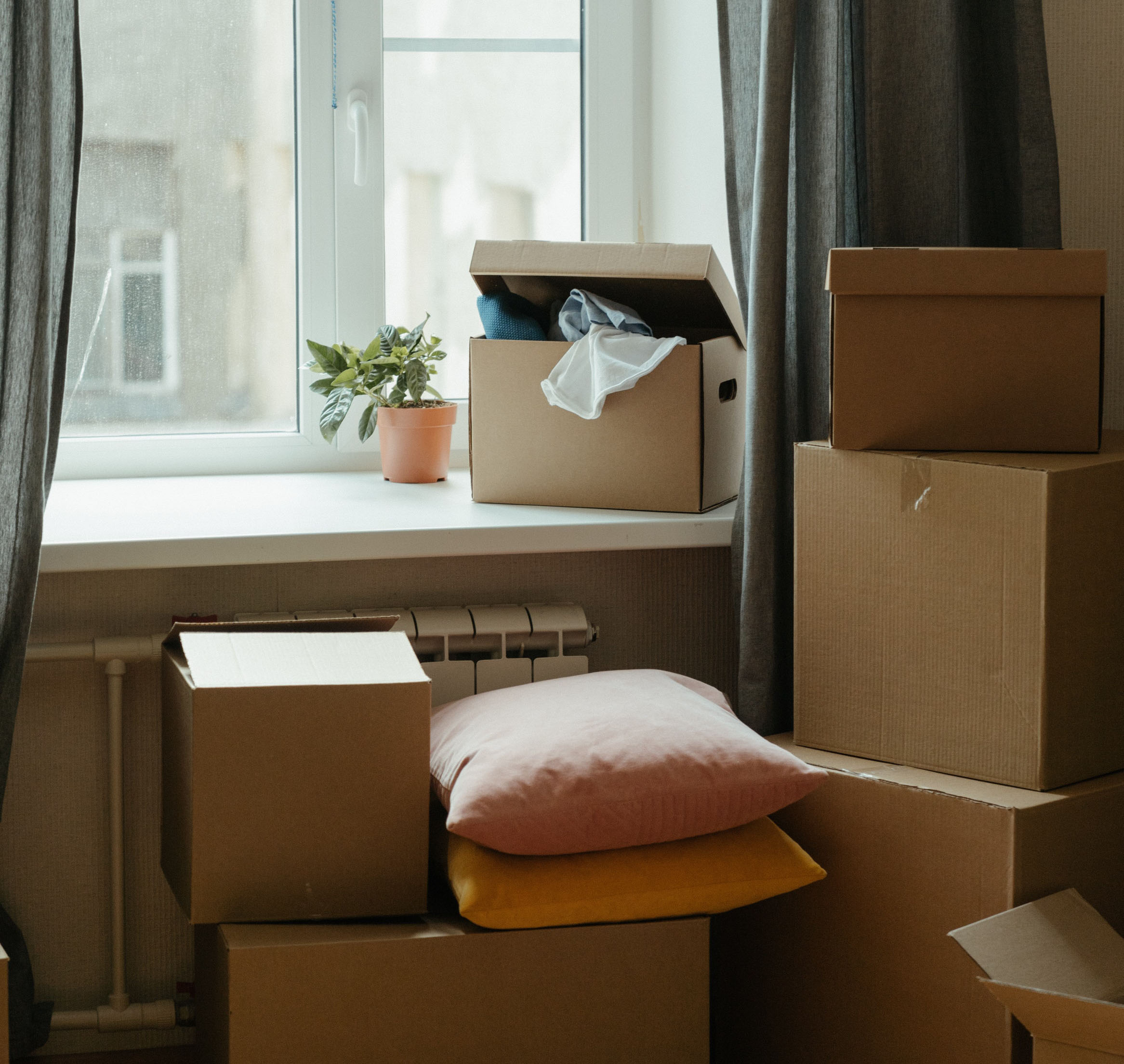 Moving boxes in an apartment