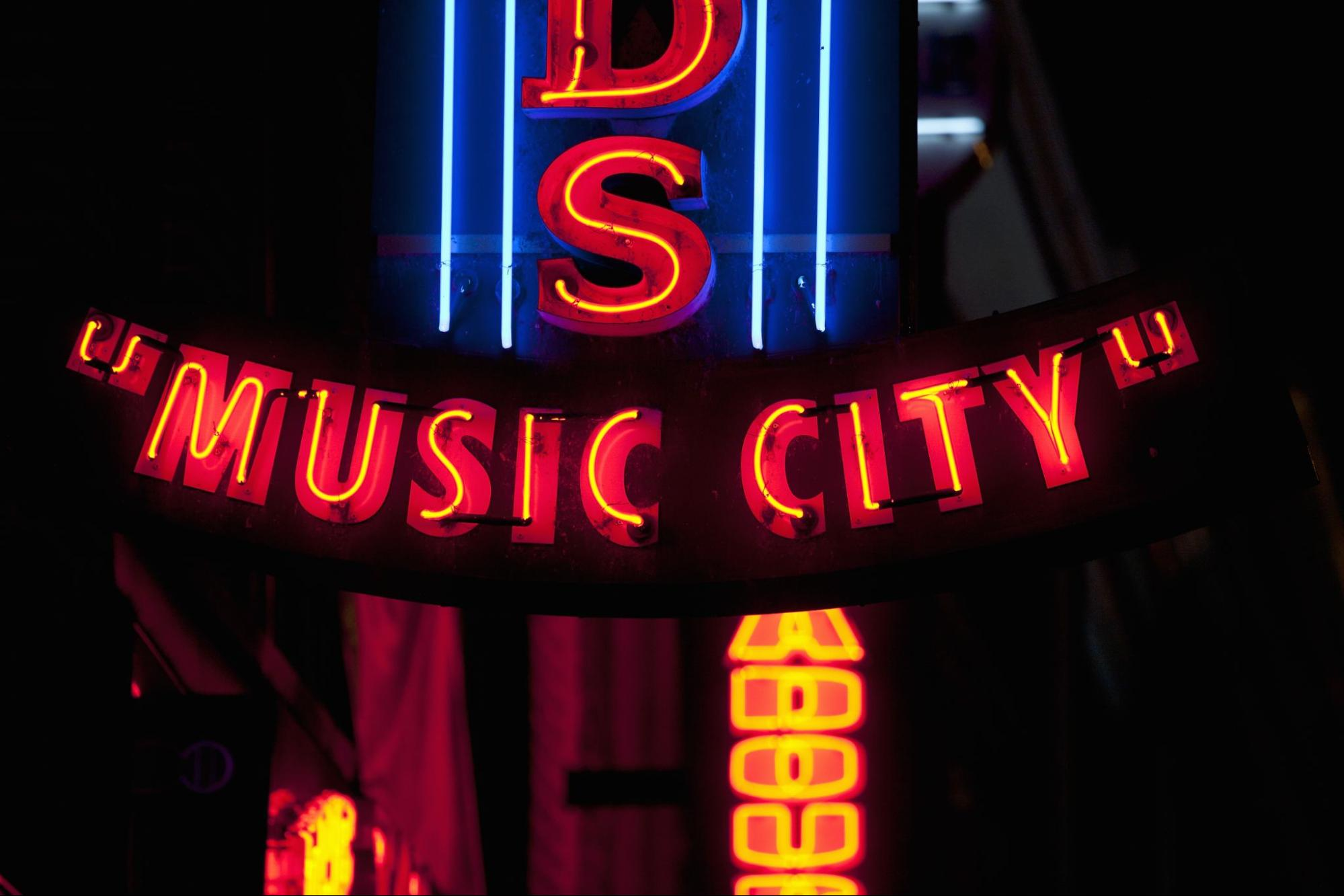 """Neon sign in Nashville, Tennessee, saying """"Music City."""""""
