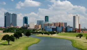 Beautiful downtown Fort Worth, Texas, skyline on a sunny afternoon.