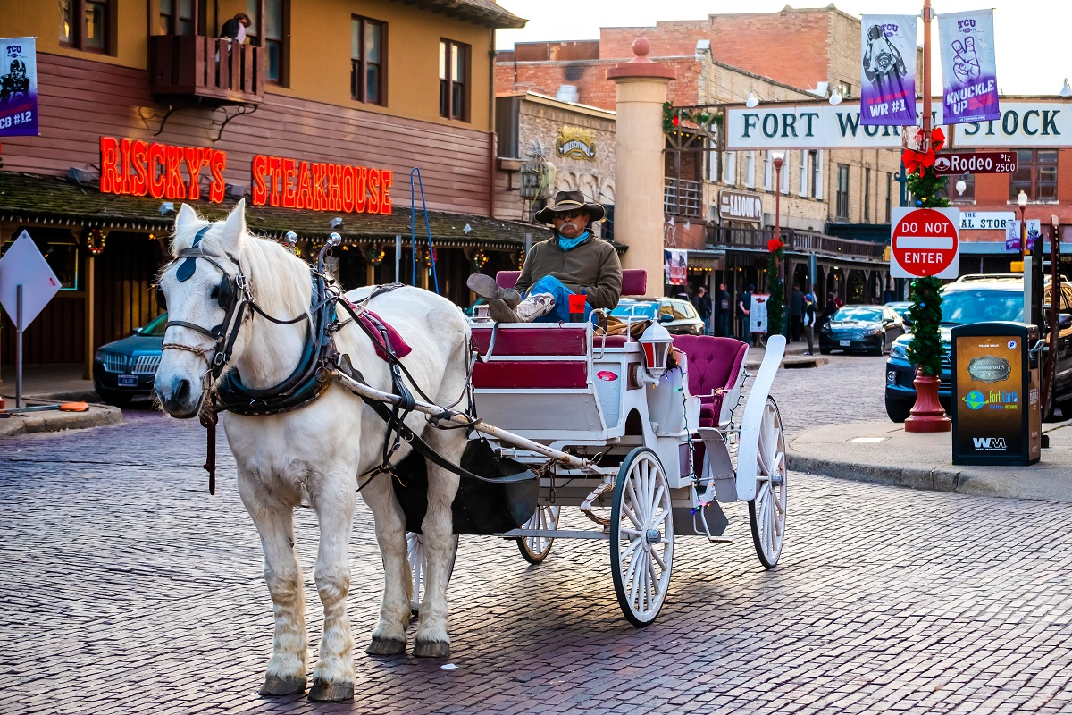 Street in the Fort Worth Stockyards historic district