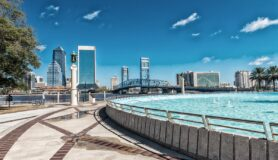 Jacksonville skyline and fountain in Florida.