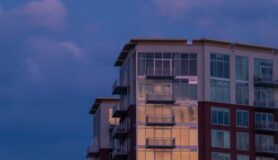 A high-rise apartment building in Nashville, Tennessee, during the sunset.