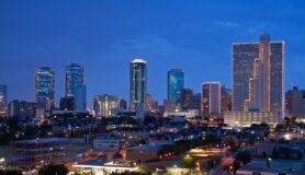 Skyline of Fort Worth, Texas, at night.
