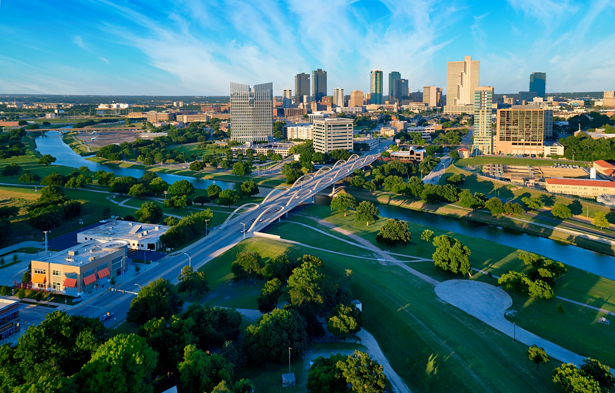 Aerial View of Fort Worth, Texas.