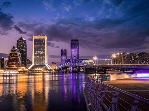 Skyline at night in Jacksonville, Florida
